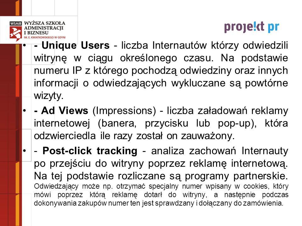 - Unique Users - liczba Internautów którzy odwiedzili witrynę w ciągu określonego czasu. Na podstawie numeru IP z którego pochodzą odwiedziny oraz innych informacji o odwiedzających wykluczane są powtórne wizyty.
