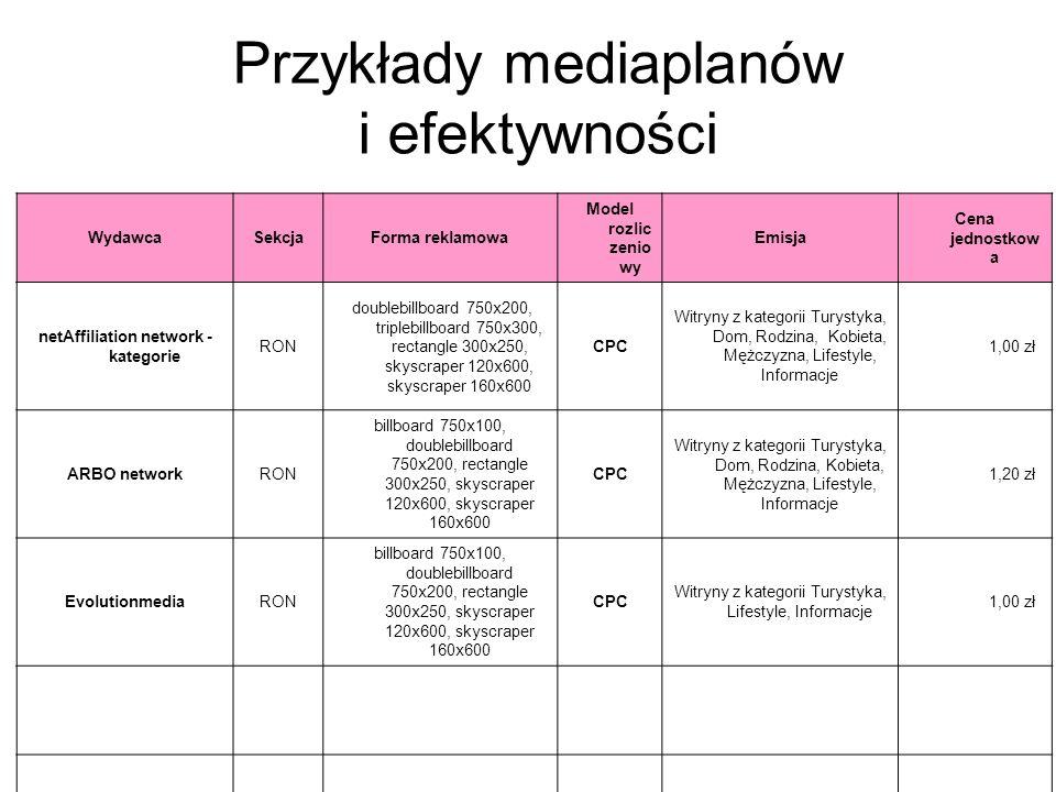 Przykłady mediaplanów i efektywności