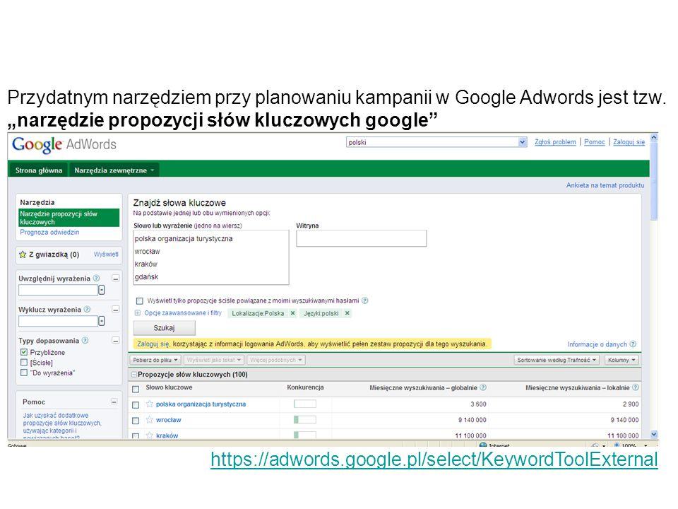 """Przydatnym narzędziem przy planowaniu kampanii w Google Adwords jest tzw. """"narzędzie propozycji słów kluczowych google"""
