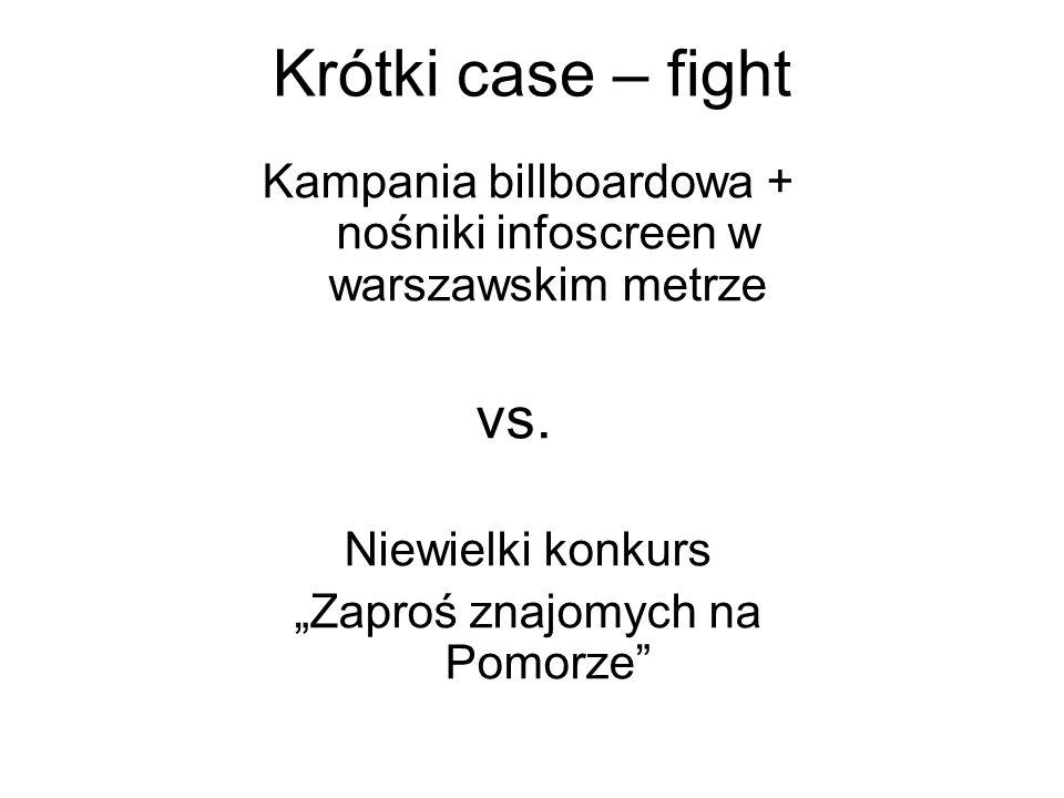 Krótki case – fight Kampania billboardowa + nośniki infoscreen w warszawskim metrze. vs. Niewielki konkurs.