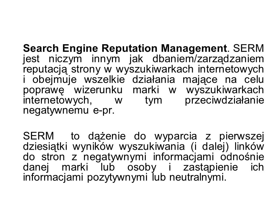 Search Engine Reputation Management