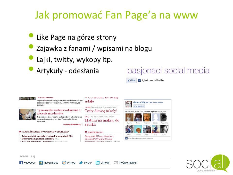 Jak promować Fan Page'a na www