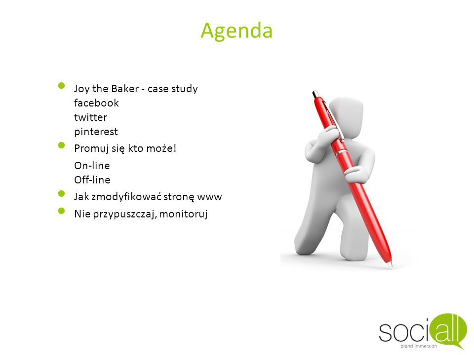 Agenda Joy the Baker - case study facebook twitter pinterest