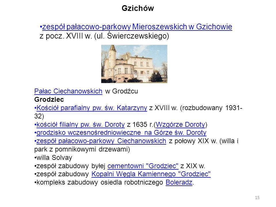 Gzichów zespół pałacowo-parkowy Mieroszewskich w Gzichowie z pocz. XVIII w. (ul. Świerczewskiego) Pałac Ciechanowskich w Grodźcu.