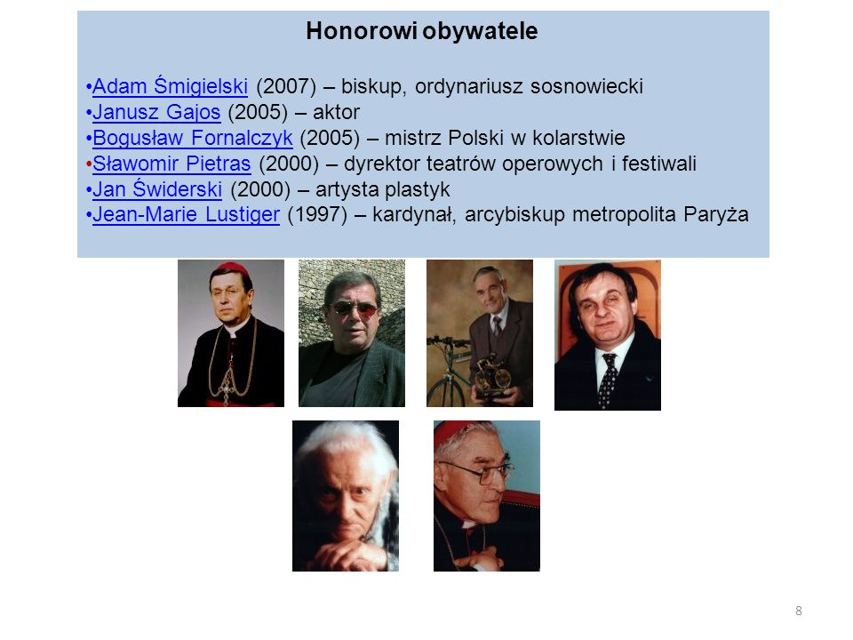 Honorowi obywatele Adam Śmigielski (2007) – biskup, ordynariusz sosnowiecki. Janusz Gajos (2005) – aktor.