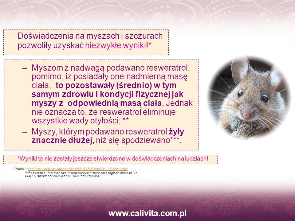 www.calivita.com.pl Doświadczenia na myszach i szczurach pozwoliły uzyskać niezwykłe wyniki!*
