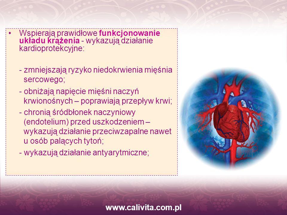 www.calivita.com.pl Wspierają prawidłowe funkcjonowanie układu krążenia - wykazują działanie kardioprotekcyjne:
