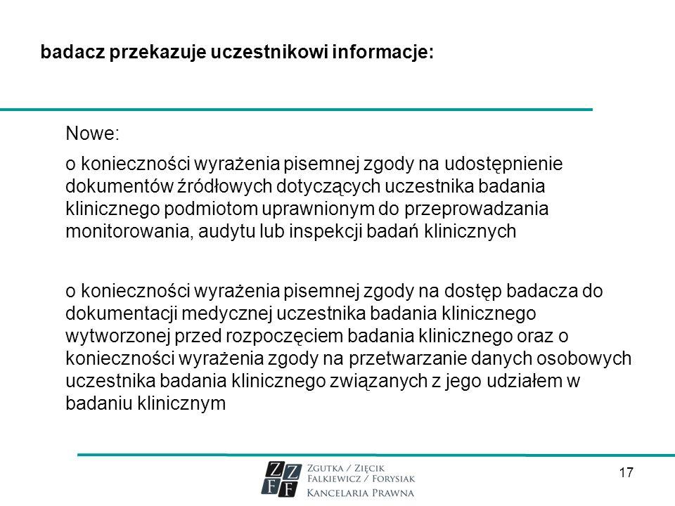 badacz przekazuje uczestnikowi informacje: