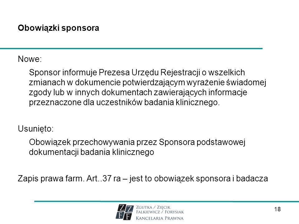 Obowiązki sponsora