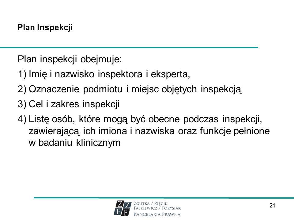 Plan inspekcji obejmuje: Imię i nazwisko inspektora i eksperta,