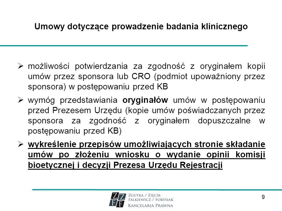 Umowy dotyczące prowadzenie badania klinicznego