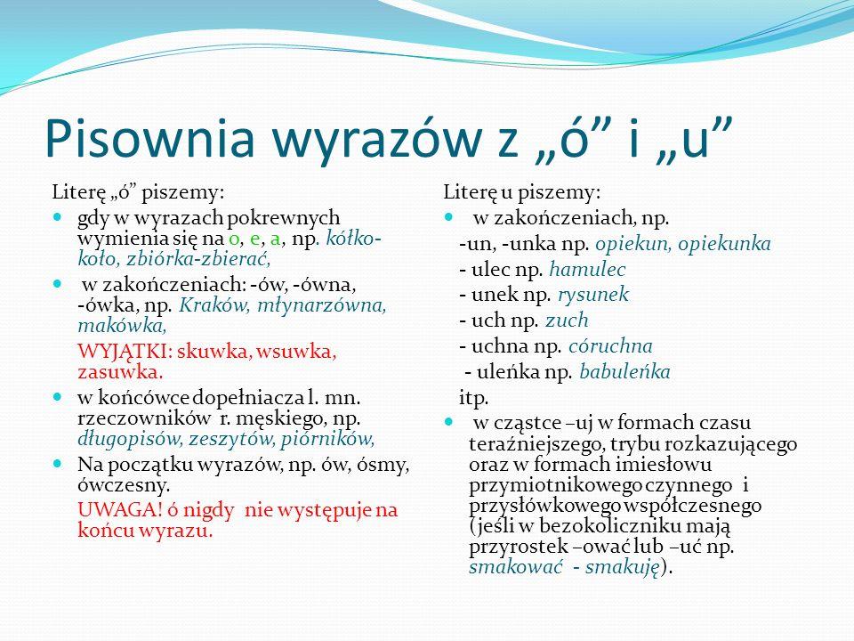 """Pisownia wyrazów z """"ó i """"u"""