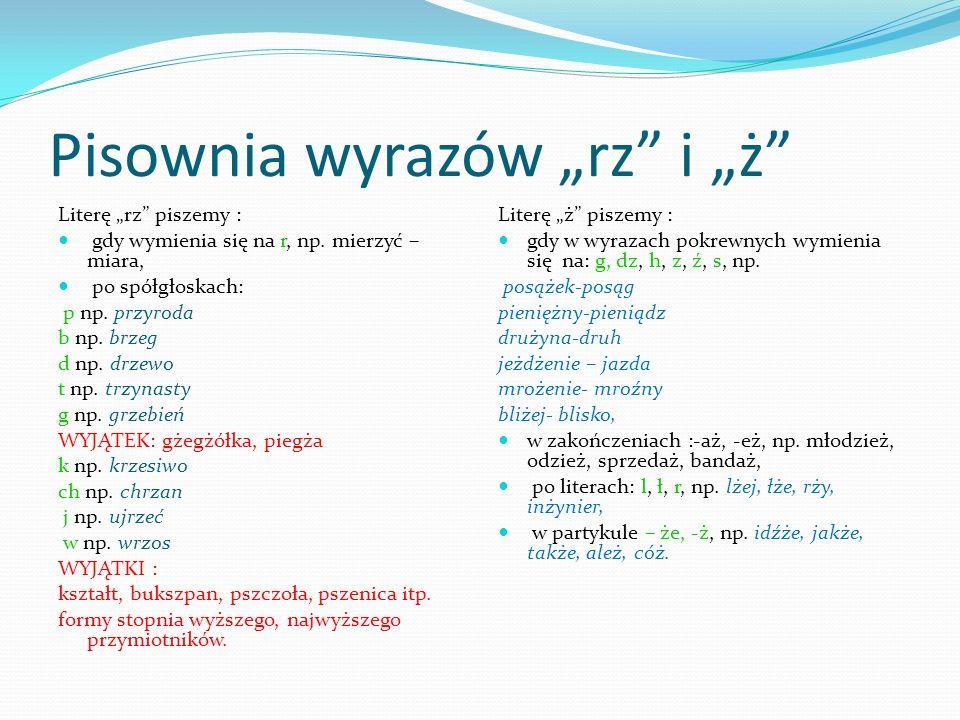 """Pisownia wyrazów """"rz i """"ż"""