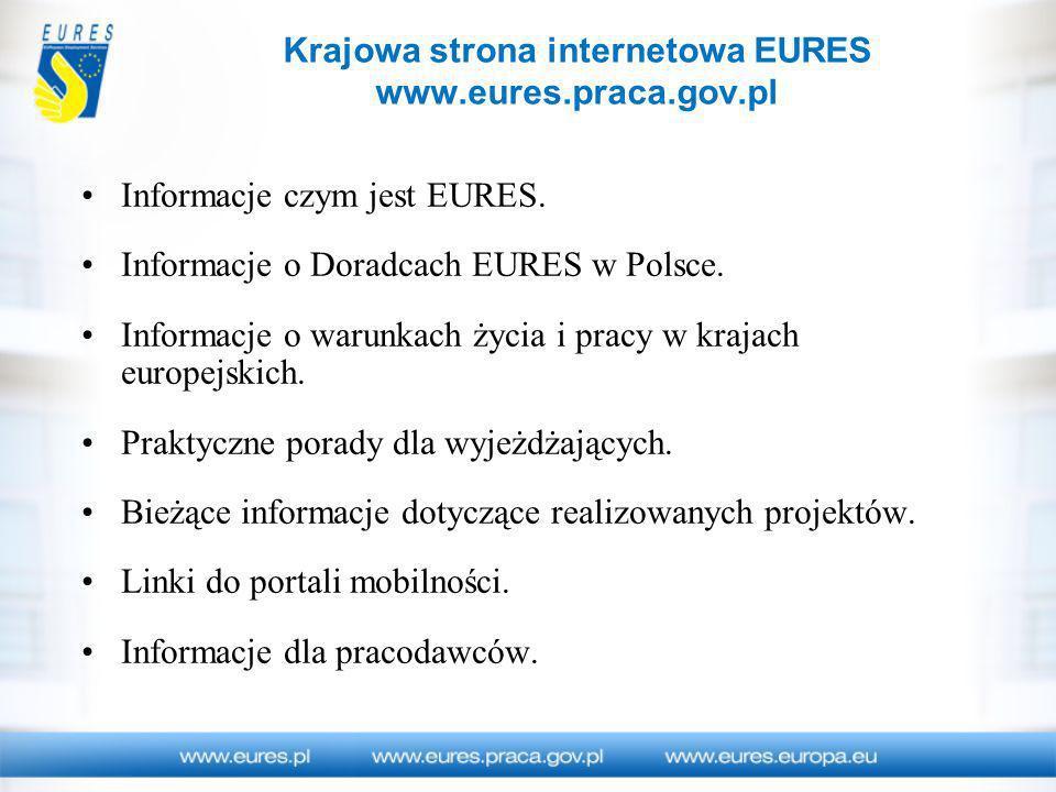 Krajowa strona internetowa EURES www.eures.praca.gov.pl