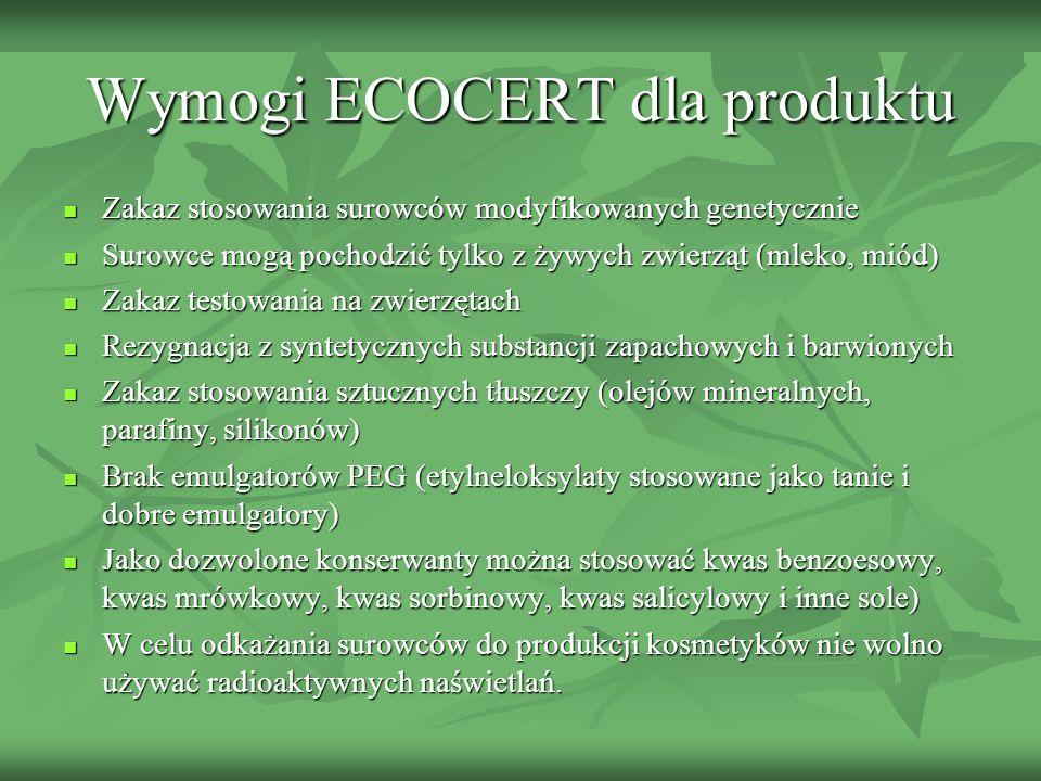 Wymogi ECOCERT dla produktu