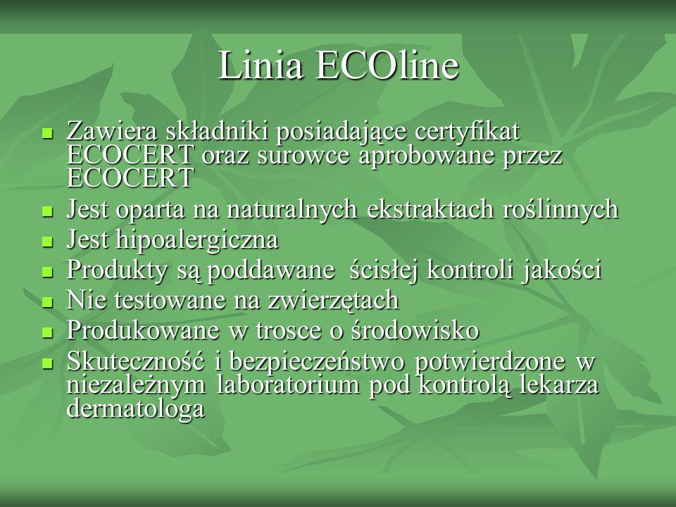 Linia ECOline Zawiera składniki posiadające certyfikat ECOCERT oraz surowce aprobowane przez ECOCERT.