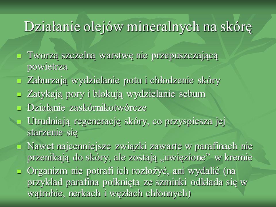 Działanie olejów mineralnych na skórę