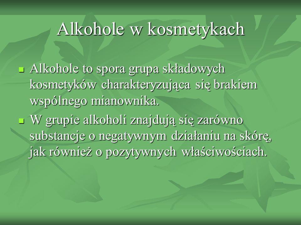 Alkohole w kosmetykach