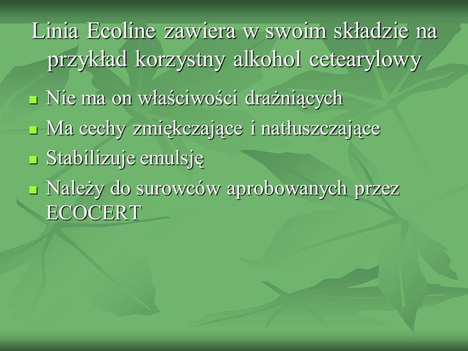 Linia Ecoline zawiera w swoim składzie na przykład korzystny alkohol cetearylowy