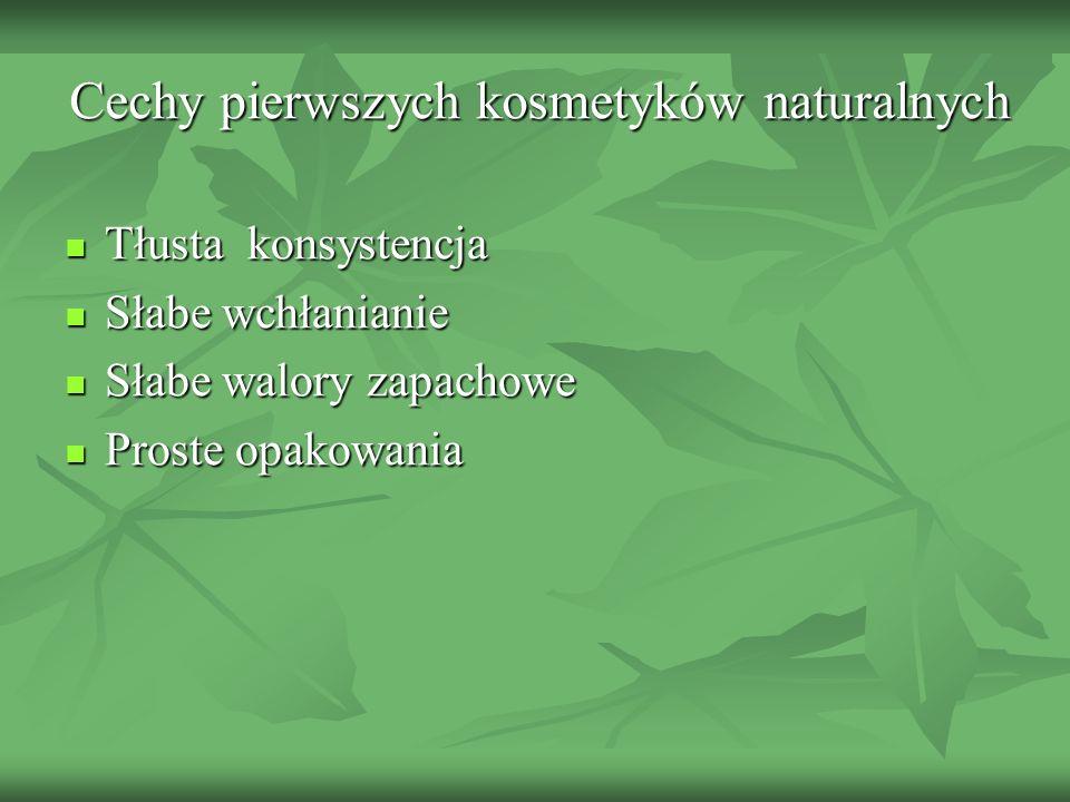 Cechy pierwszych kosmetyków naturalnych