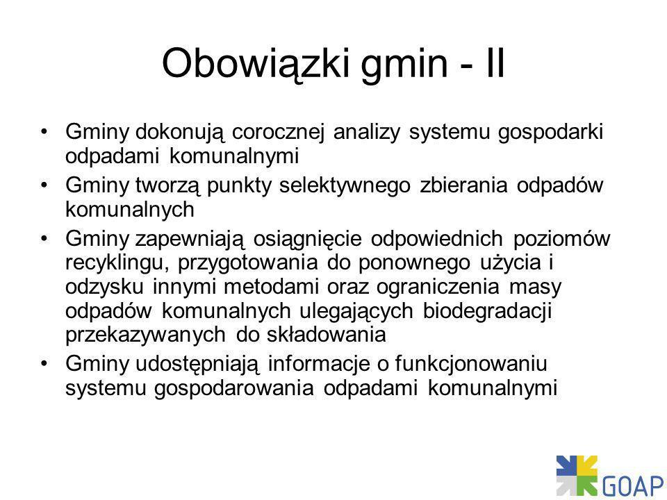 Obowiązki gmin - II Gminy dokonują corocznej analizy systemu gospodarki odpadami komunalnymi.