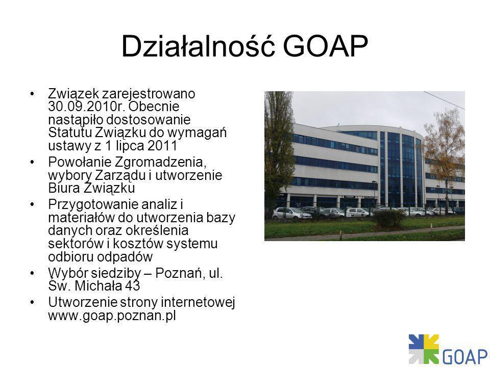 Działalność GOAP Związek zarejestrowano 30.09.2010r. Obecnie nastąpiło dostosowanie Statutu Związku do wymagań ustawy z 1 lipca 2011.