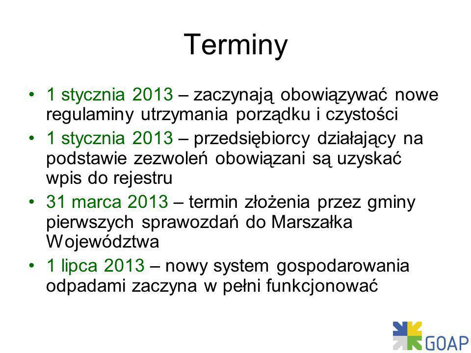Terminy 1 stycznia 2013 – zaczynają obowiązywać nowe regulaminy utrzymania porządku i czystości.