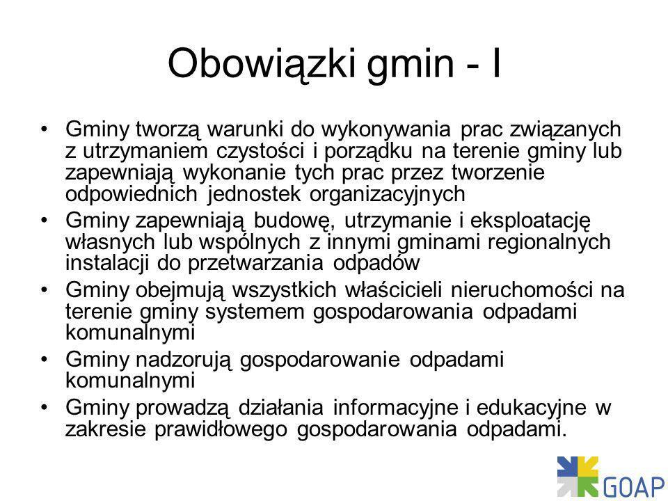 Obowiązki gmin - I