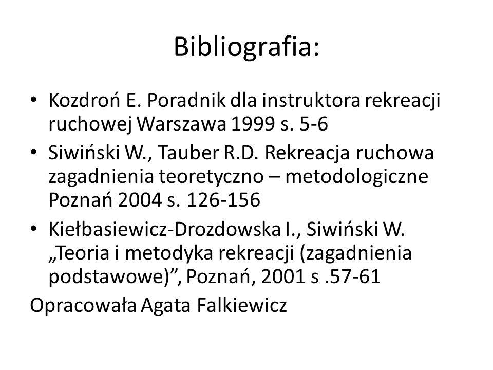Bibliografia: Kozdroń E. Poradnik dla instruktora rekreacji ruchowej Warszawa 1999 s. 5-6.