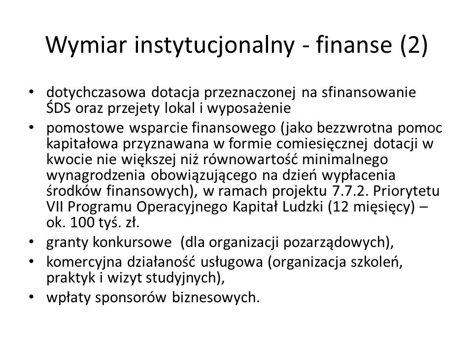 Wymiar instytucjonalny - finanse (2)
