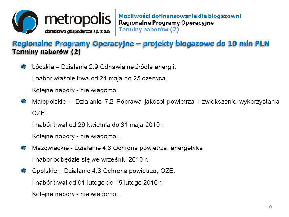 Regionalne Programy Operacyjne – projekty biogazowe do 10 mln PLN