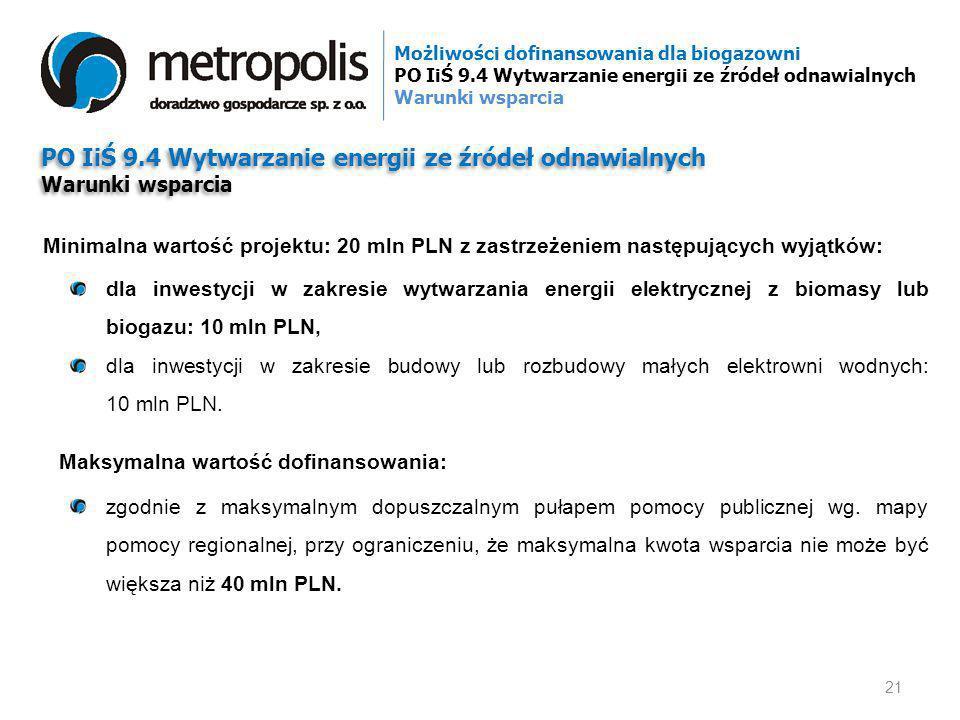 PO IiŚ 9.4 Wytwarzanie energii ze źródeł odnawialnych