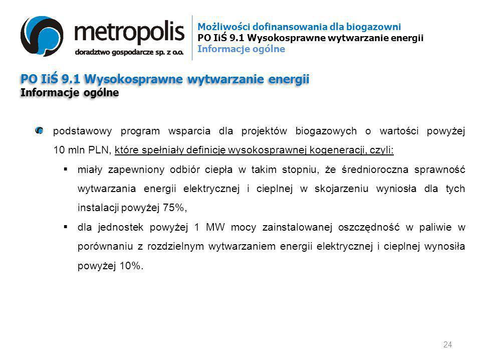 PO IiŚ 9.1 Wysokosprawne wytwarzanie energii