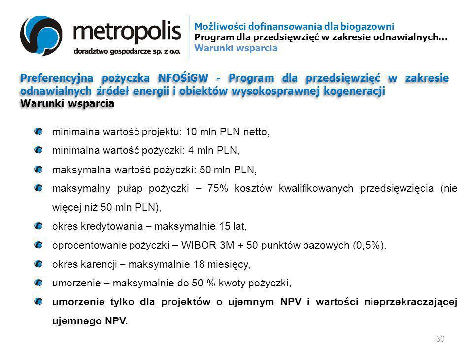 minimalna wartość projektu: 10 mln PLN netto,