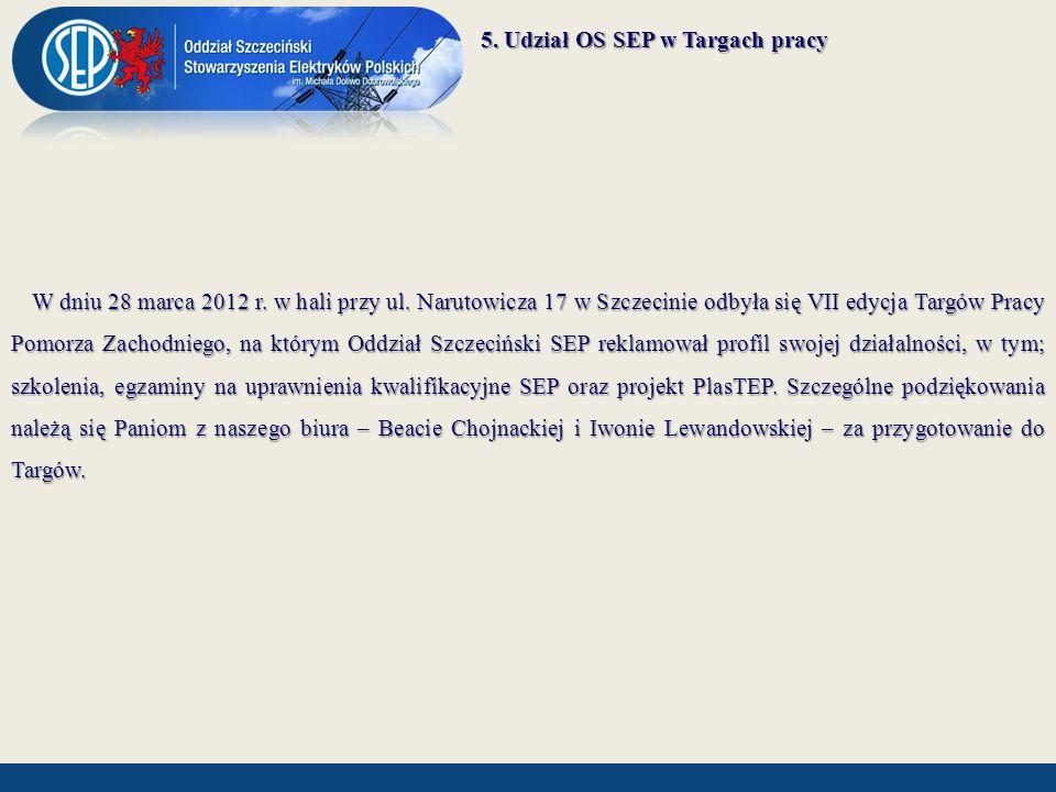 5. Udział OS SEP w Targach pracy