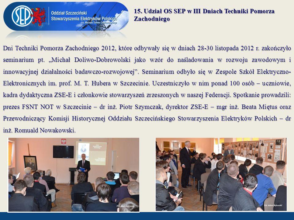 15. Udział OS SEP w III Dniach Techniki Pomorza Zachodniego