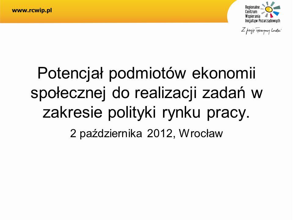 Potencjał podmiotów ekonomii społecznej do realizacji zadań w zakresie polityki rynku pracy.