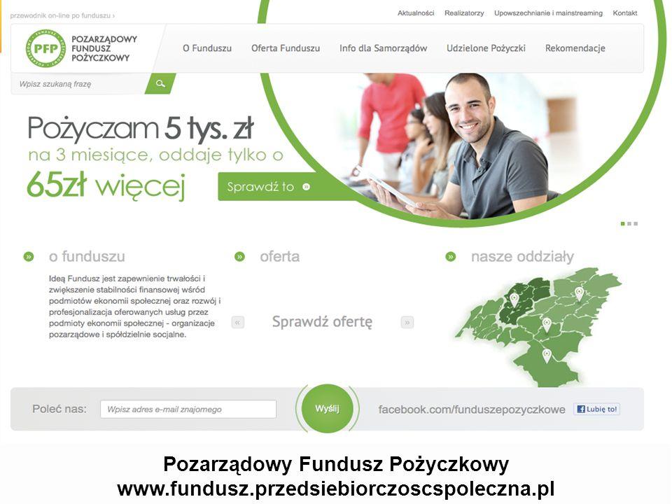 Pozarządowy Fundusz Pożyczkowy www.fundusz.przedsiebiorczoscspoleczna.pl