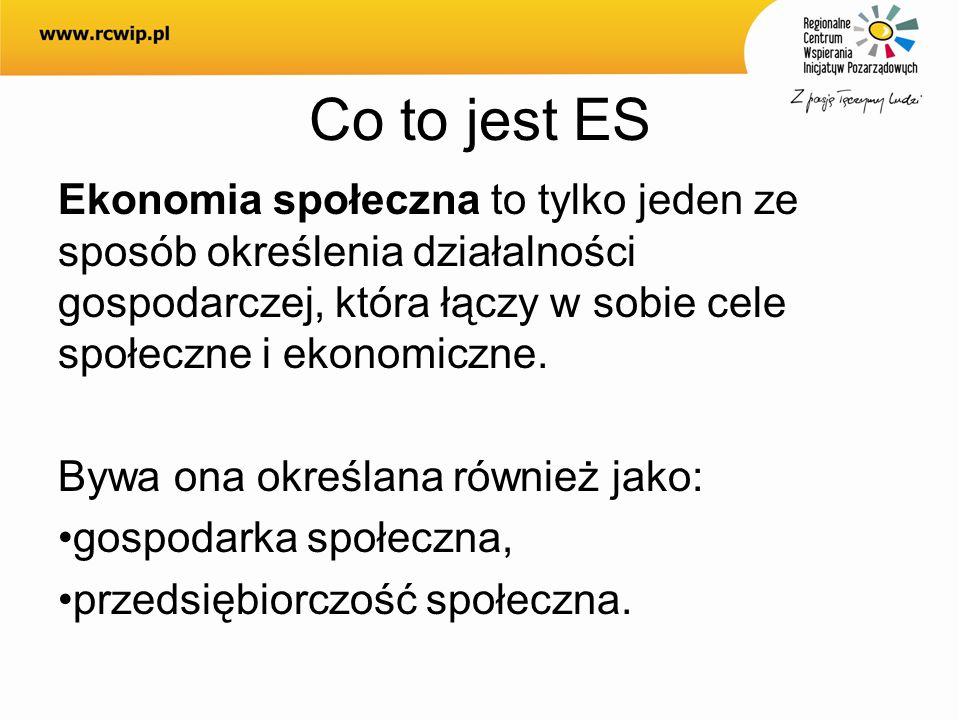 Co to jest ES Ekonomia społeczna to tylko jeden ze sposób określenia działalności gospodarczej, która łączy w sobie cele społeczne i ekonomiczne.