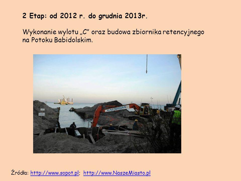 """2 Etap: od 2012 r. do grudnia 2013r. Wykonanie wylotu """"C oraz budowa zbiornika retencyjnego na Potoku Babidolskim."""