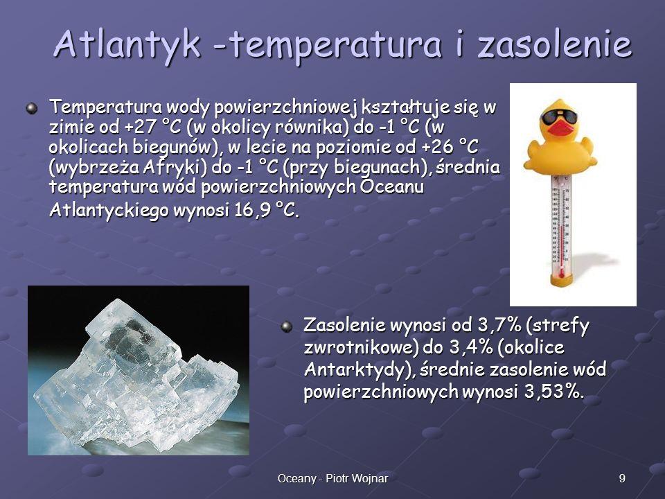 Atlantyk -temperatura i zasolenie