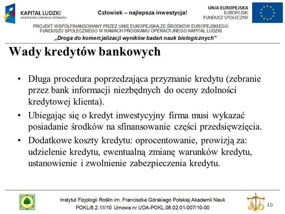 Wady kredytów bankowych