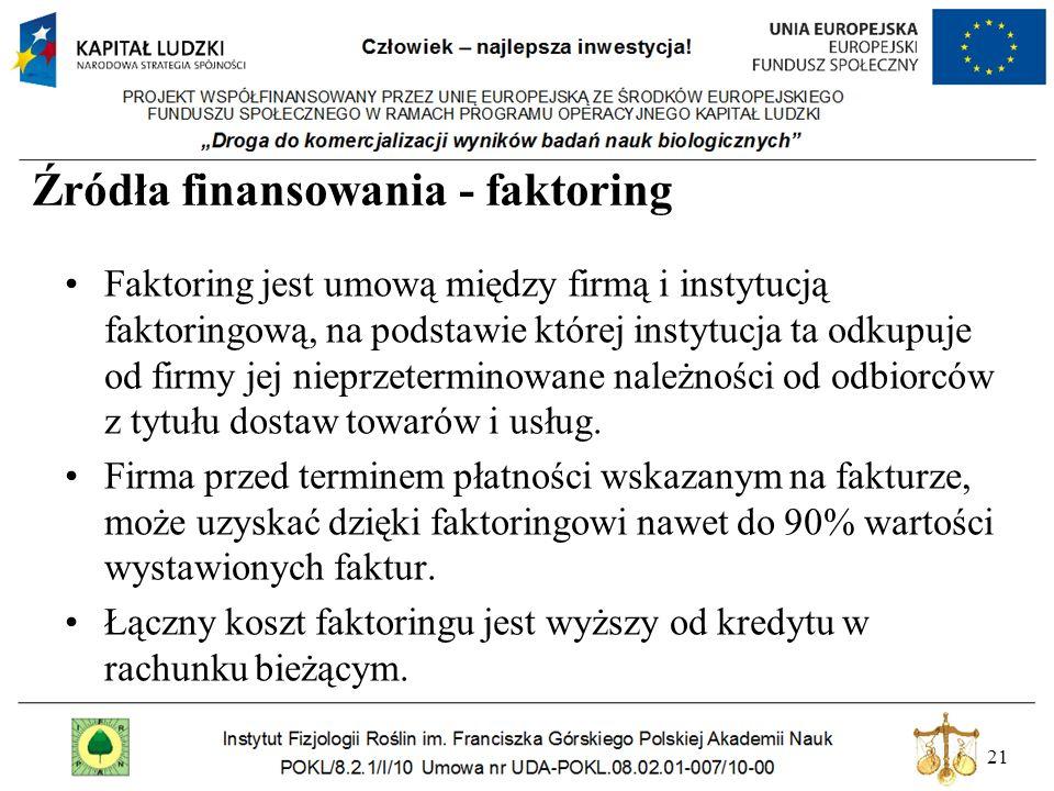 Źródła finansowania - faktoring