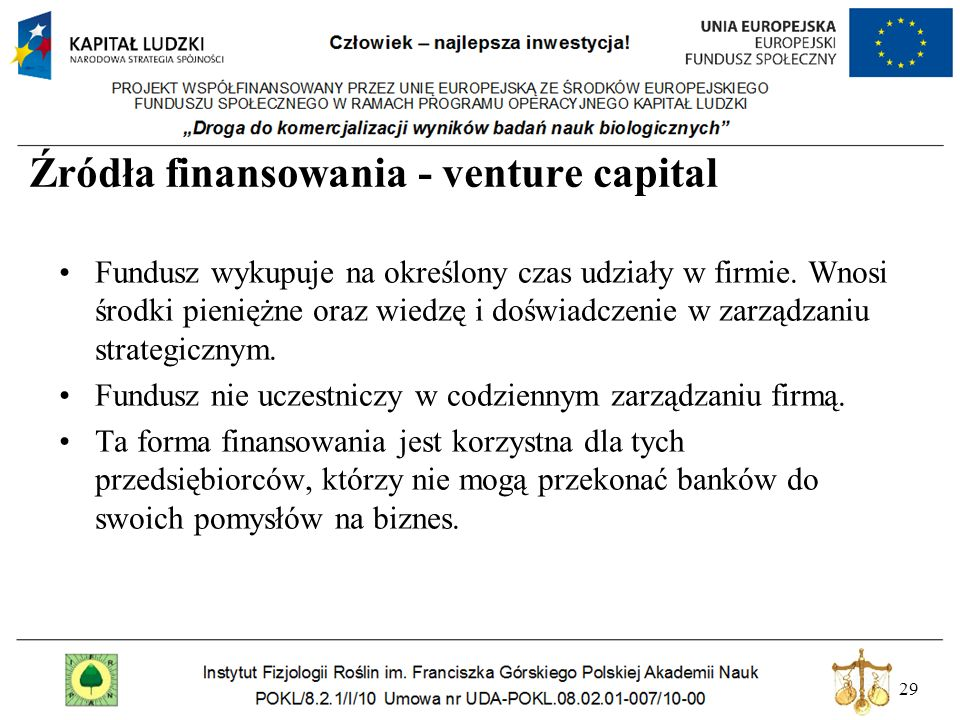 Źródła finansowania - venture capital