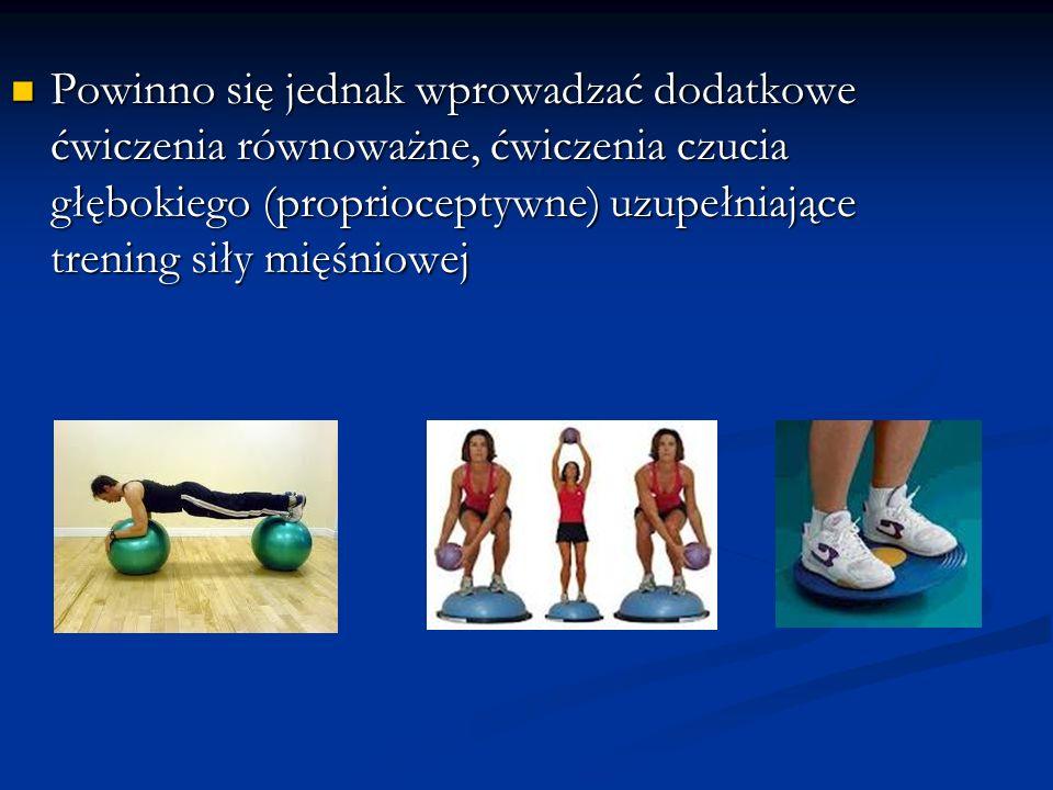 Powinno się jednak wprowadzać dodatkowe ćwiczenia równoważne, ćwiczenia czucia głębokiego (proprioceptywne) uzupełniające trening siły mięśniowej