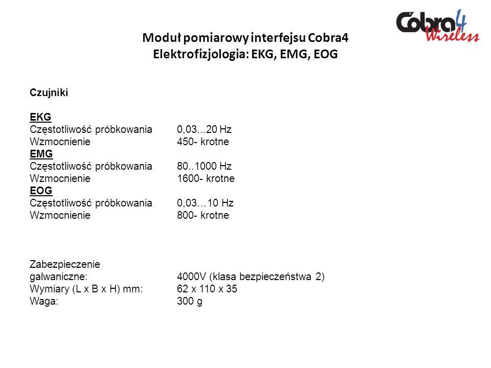 Moduł pomiarowy interfejsu Cobra4 Elektrofizjologia: EKG, EMG, EOG