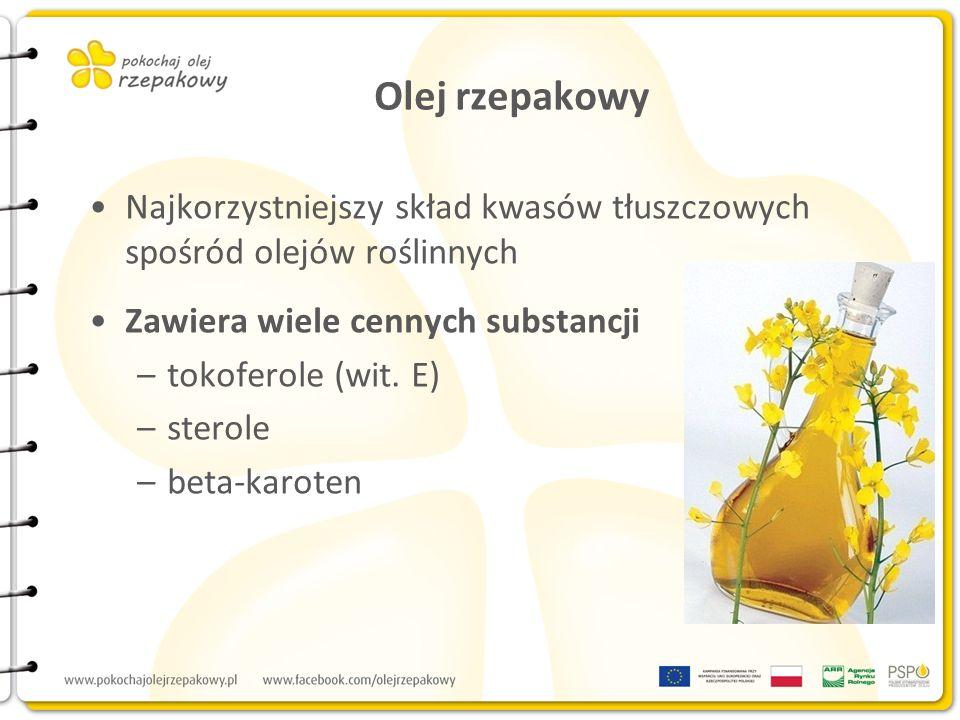 Olej rzepakowy Najkorzystniejszy skład kwasów tłuszczowych spośród olejów roślinnych. Zawiera wiele cennych substancji.