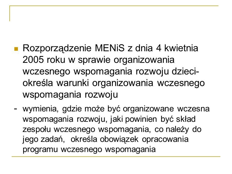 Rozporządzenie MENiS z dnia 4 kwietnia 2005 roku w sprawie organizowania wczesnego wspomagania rozwoju dzieci- określa warunki organizowania wczesnego wspomagania rozwoju