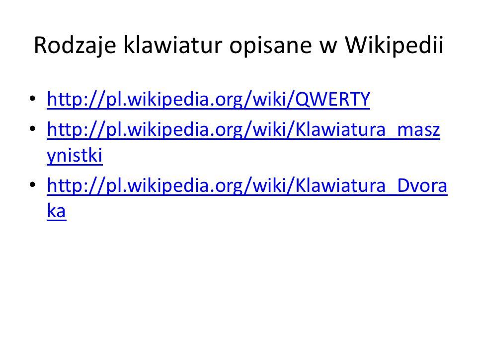 Rodzaje klawiatur opisane w Wikipedii
