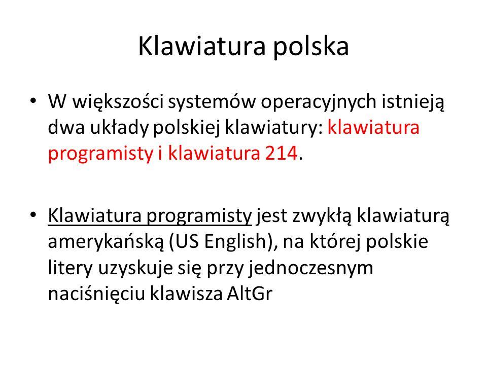 Klawiatura polskaW większości systemów operacyjnych istnieją dwa układy polskiej klawiatury: klawiatura programisty i klawiatura 214.